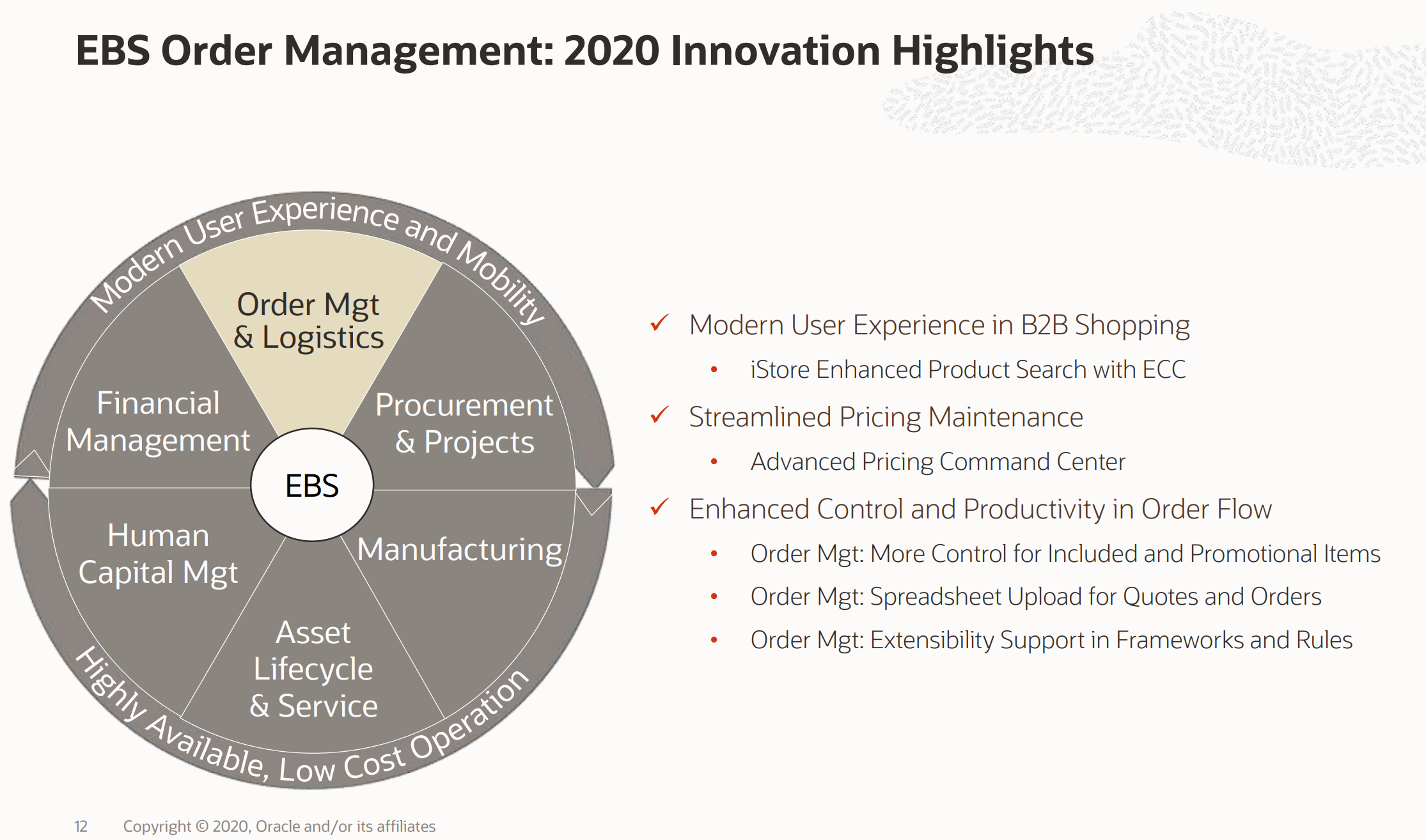 EBS Order Management 2020 Innovation Highlights