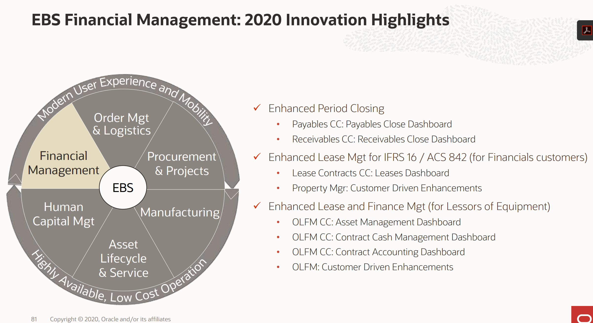 EBS Financial Management 2020 Innovation Highlights